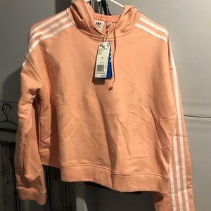 Adidas pink crop hoodie NWT